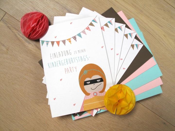 ... & Basteln / Papeterie / 5 Einladungen zum Kindergeburtstag Mädchen